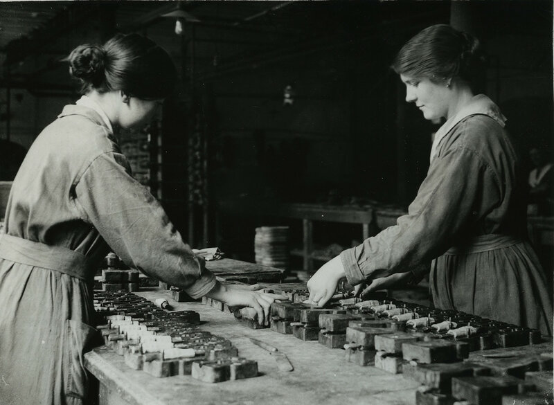 British women rubber workers in Lancashire making mouth-pieces for gas masks