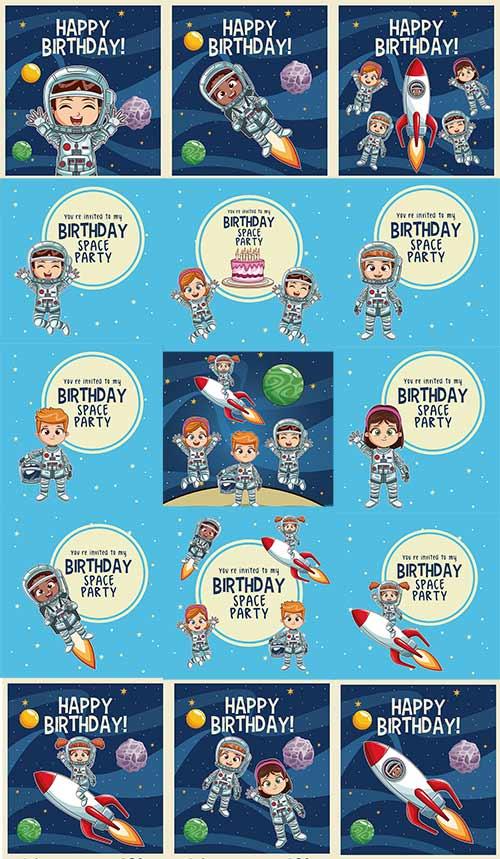 Дети космонавты в векторе / Children astronauts in vector