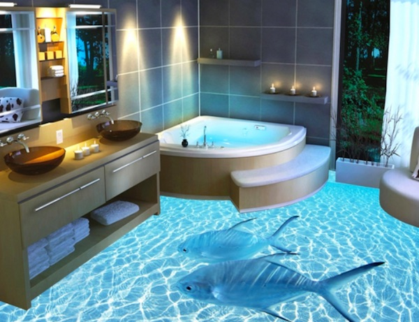 Aquatic 3D Floor in The Bathroom