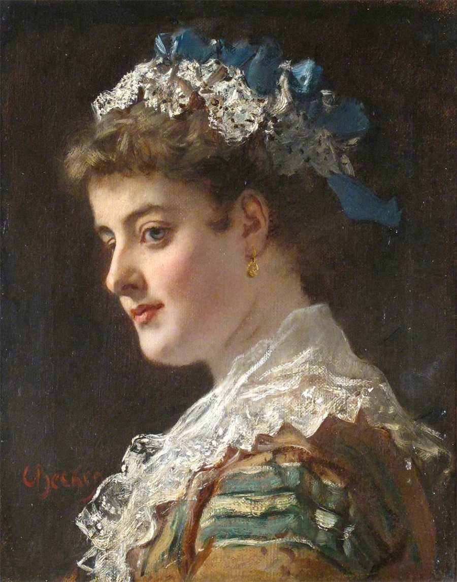 Portrait of a lady in a lace cap with blue ribbons.