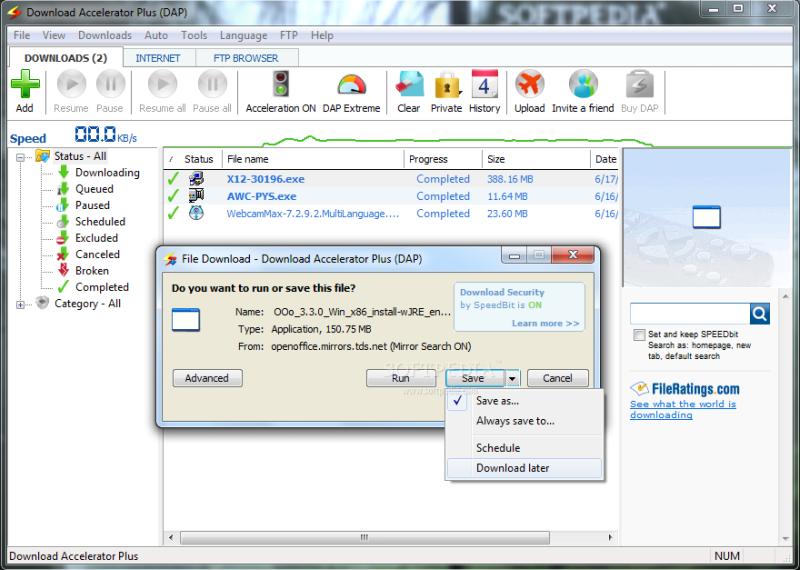 Удобный менеджер закачек файлов DAP (Download Accelerator Plus)