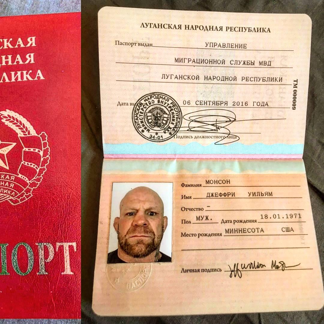 Джефф Монсон получил паспорт ЛНР 10-09-2016