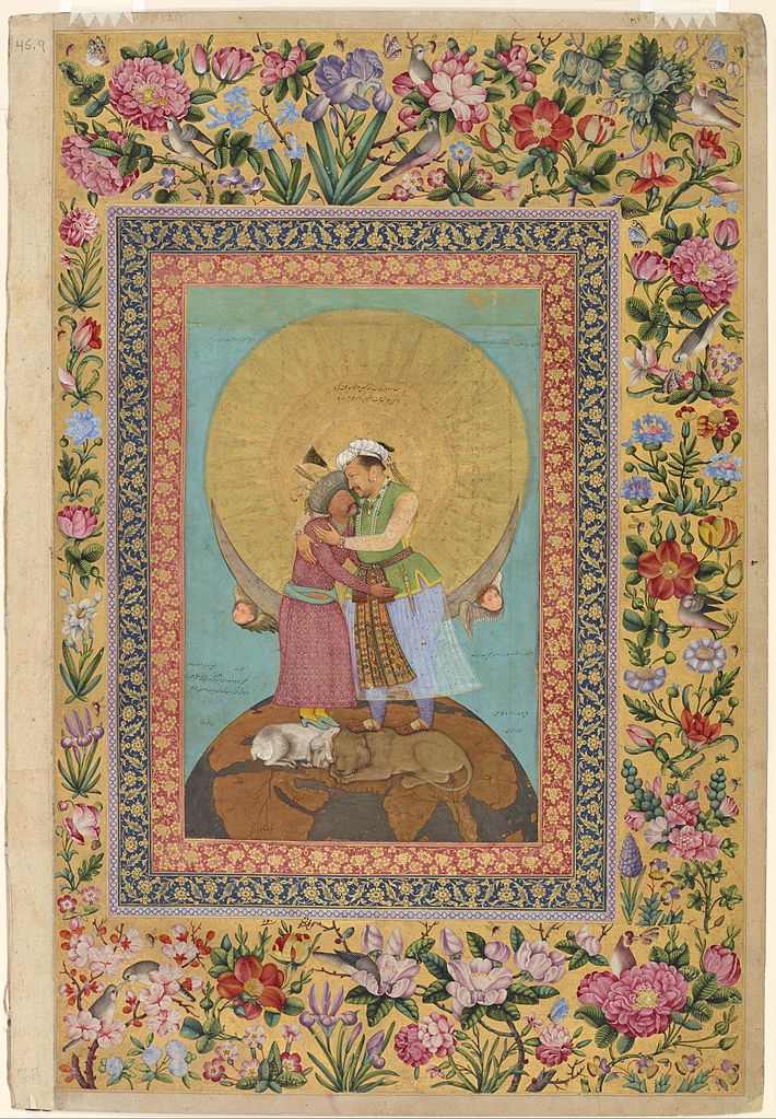 13_Abu'l_Hasan__The_St__Petersburg_Album__Allegorical_representation_of_Emperor_Jahangir_and_Shah_'Abbas_са_1618_Freer_and_Sackler_Gallery,_Washington_DC.jpg