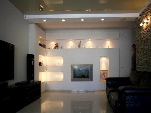 017. холл, биокамин, инсталляция из гипсокартона