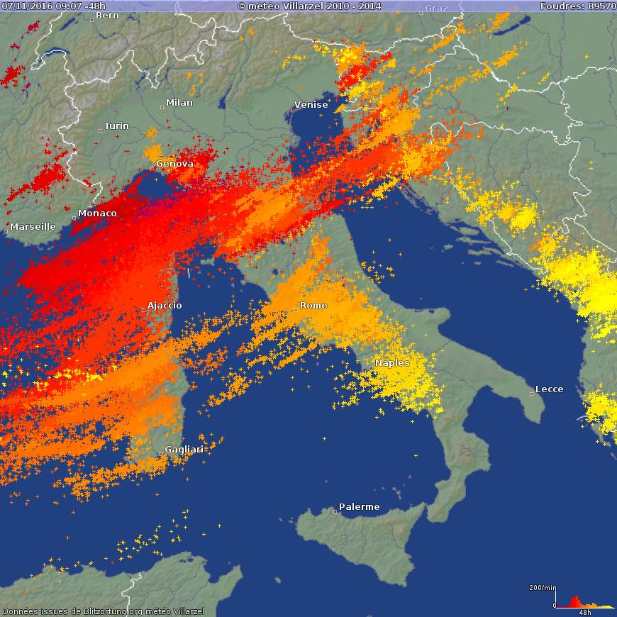 An inpressive amount of lightning this weekend, almost 90.000 were detected across north-central Mediterranean during an active frontal system, which produced deadly tornado in Rome and damaging flooding in Slovenia and parts on central Italy.