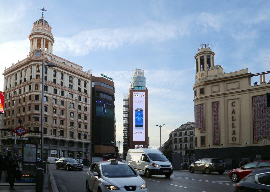 Утренний Мадрид. Гран-Виа. Площадь Кальяо