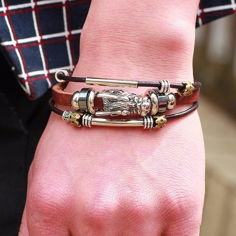 Мужской кожаный браслет с драконом