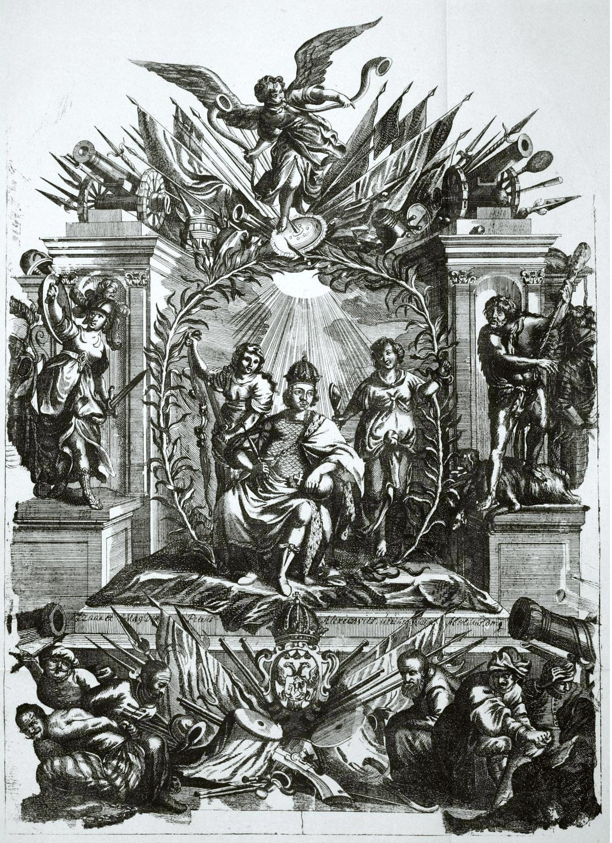 61.Петр I сидит на троне, в короне и латах