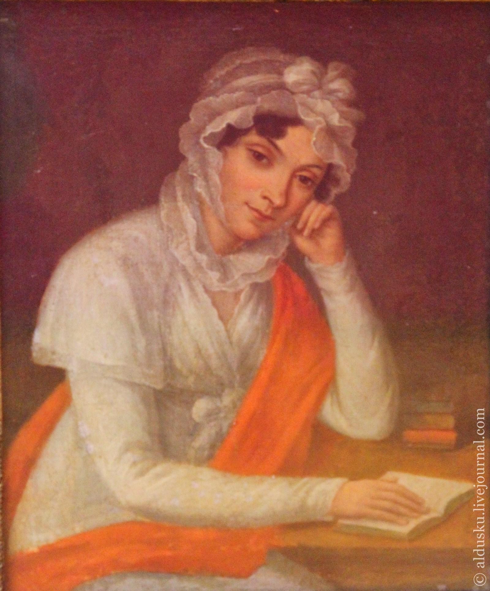 Неизвестный художник. Портрет неизвестной с красной шалью. Конец 1810-х–нач. 1820-х. Холст, масло