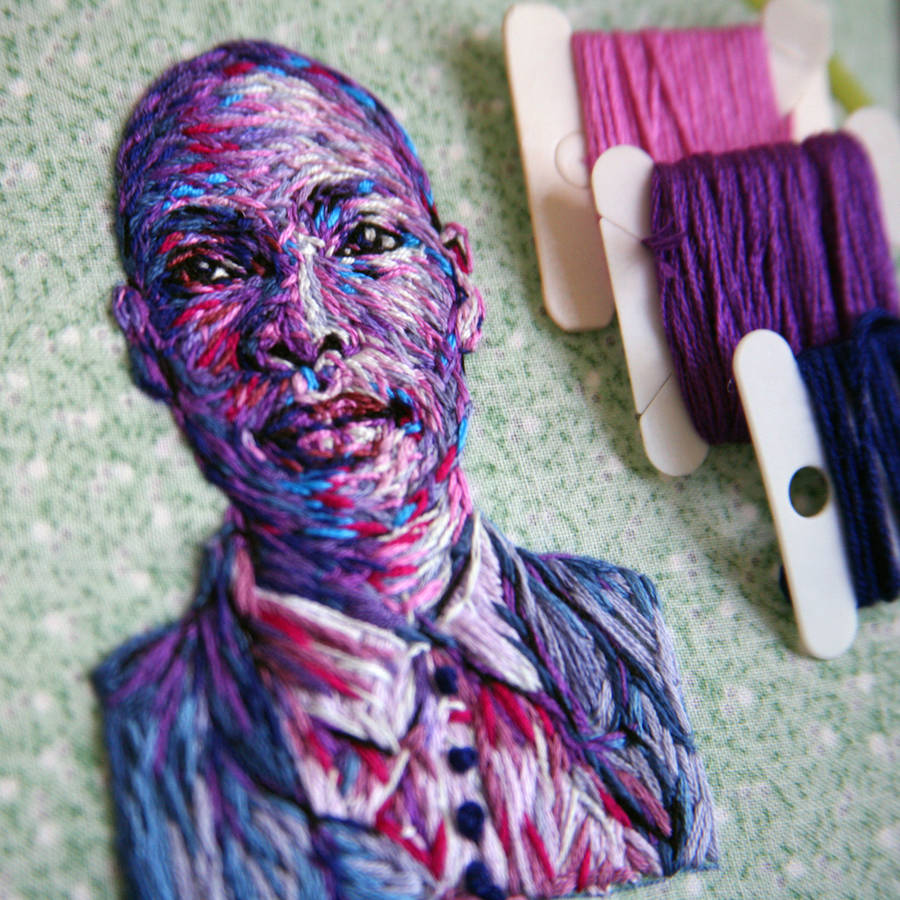 Colorful Intimate Embroidered Portraits