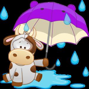 корова под зонтиком