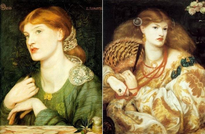 Данте Габриэль Россетти. Слева – Ramoscello, 1865. Справа – Мона Ванна, 1866