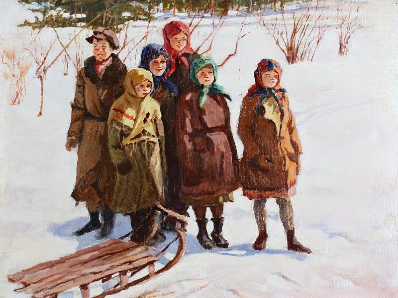 Николай Петрович Богданов-Бельский (1868-1945)Дети с саням.jpg