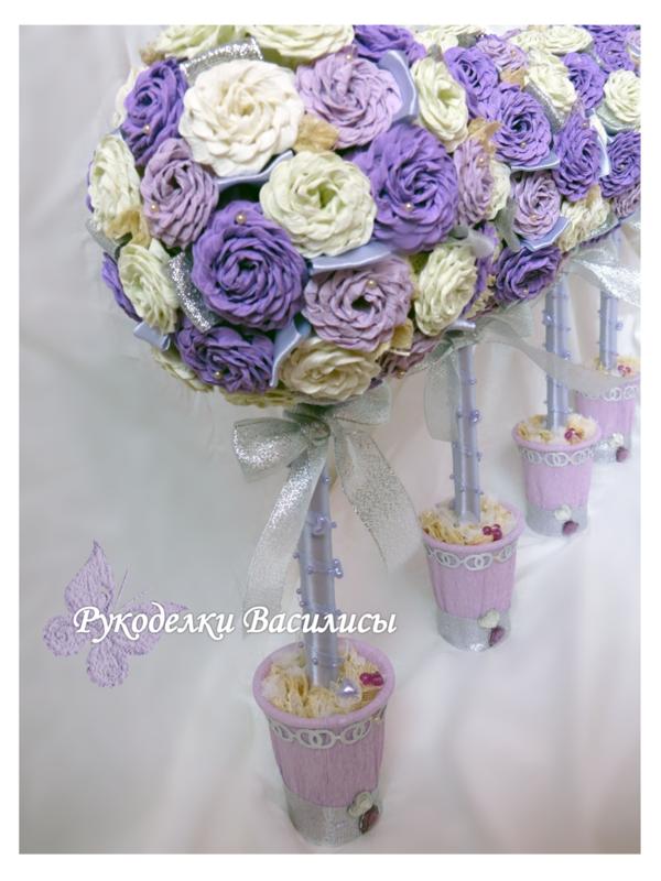 дерево счастья, розы из гофрированной бумаги, ручная работа, топиарий своими руками, топиарий из бумажных роз, подарки, свадебный декор, рукоделки василисы