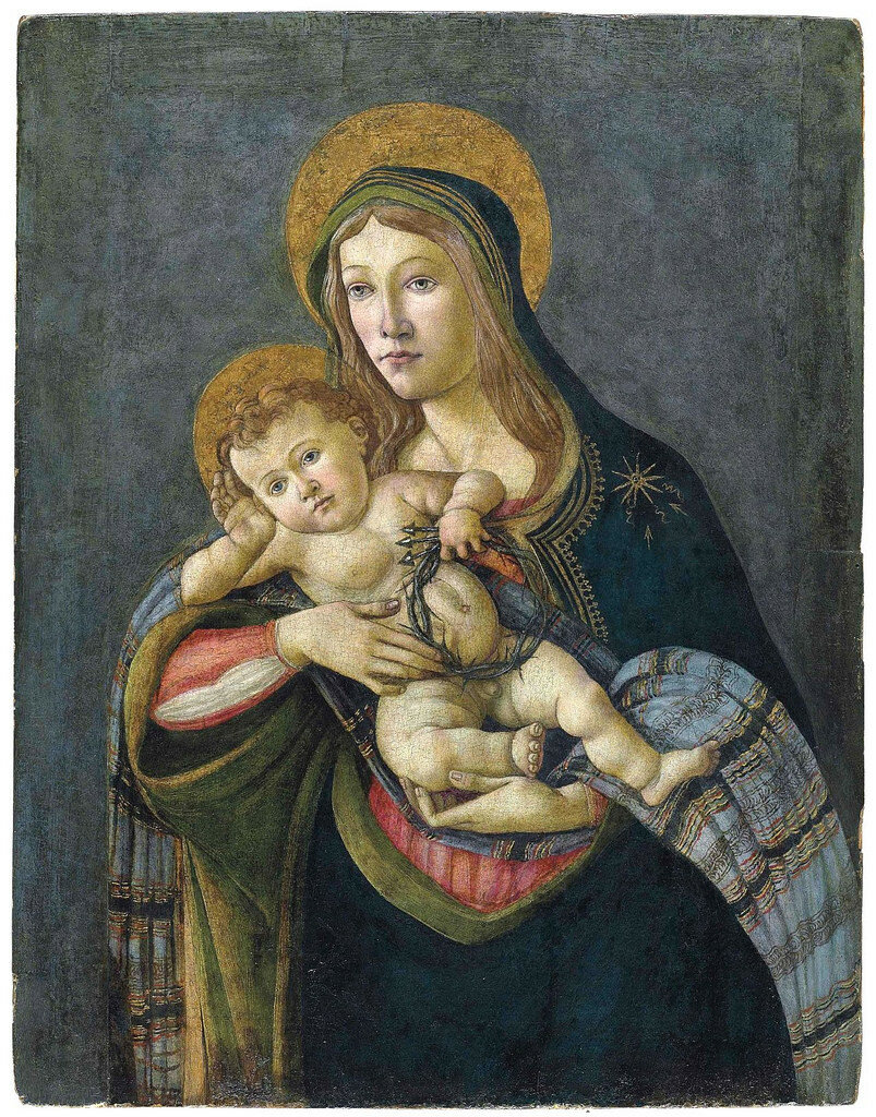 Lot 144Alessandro Filipepi, called Sandro Botticelli (Florence 1444/5-1510) The Madonna and Child with the Crown of Thorns and three nails (Christie's)