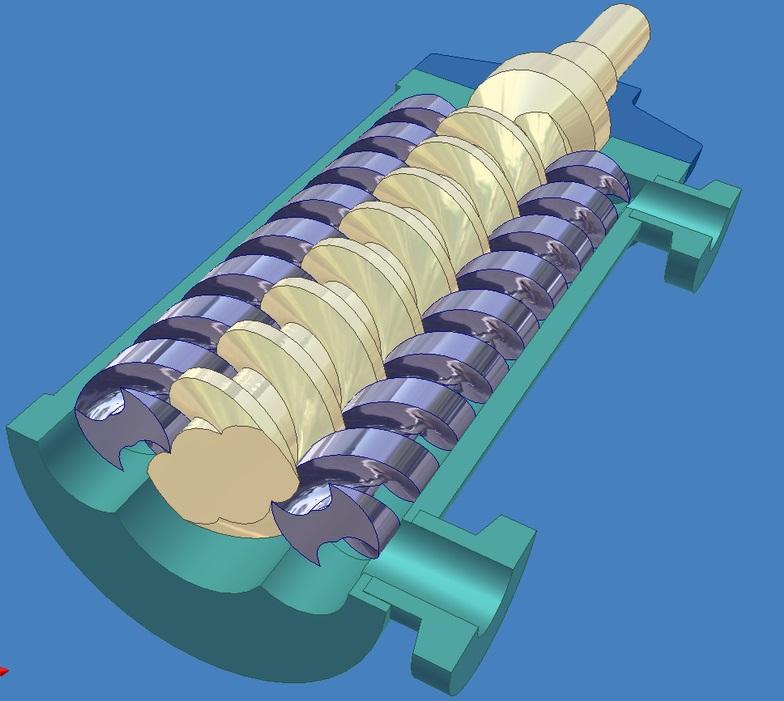 Внутреннее устройство трёхвинтового насоса