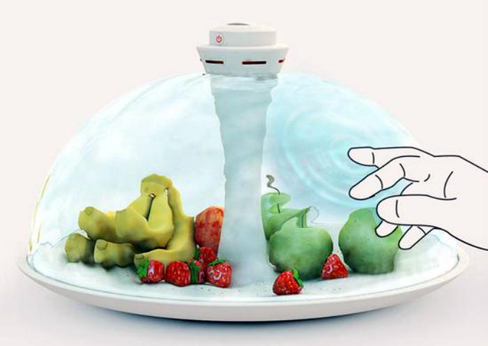 Необычная тарелка для фруктов Water Shade. Футуристическая тарелка, которая благодаря водяному купол