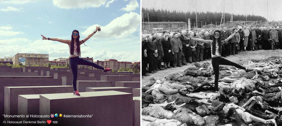 YOLOCAUST - Inserting tourists in photos of concentration camps