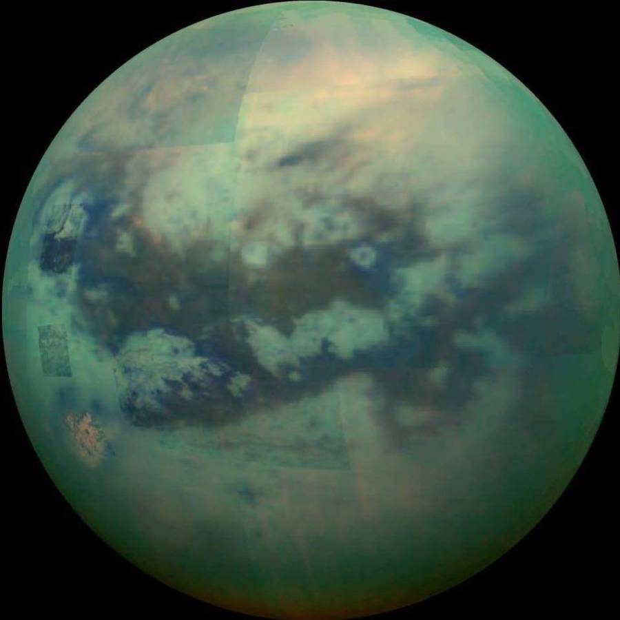 Also, ethane and methane, which are normally gases on Earth, are under a liquid form on Titan and co