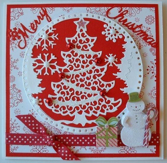 Кружевные новогодние открытки
