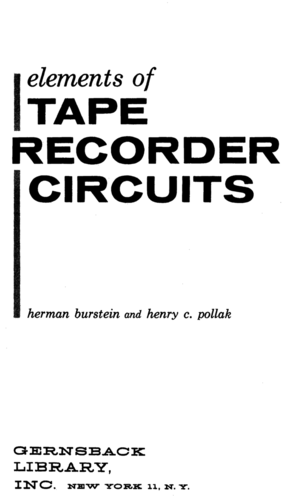 Elements of Tape Recorder Circuits - Herman Burstein & Henty Pollack - Book Cover