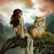 Рисунок девушки и животного