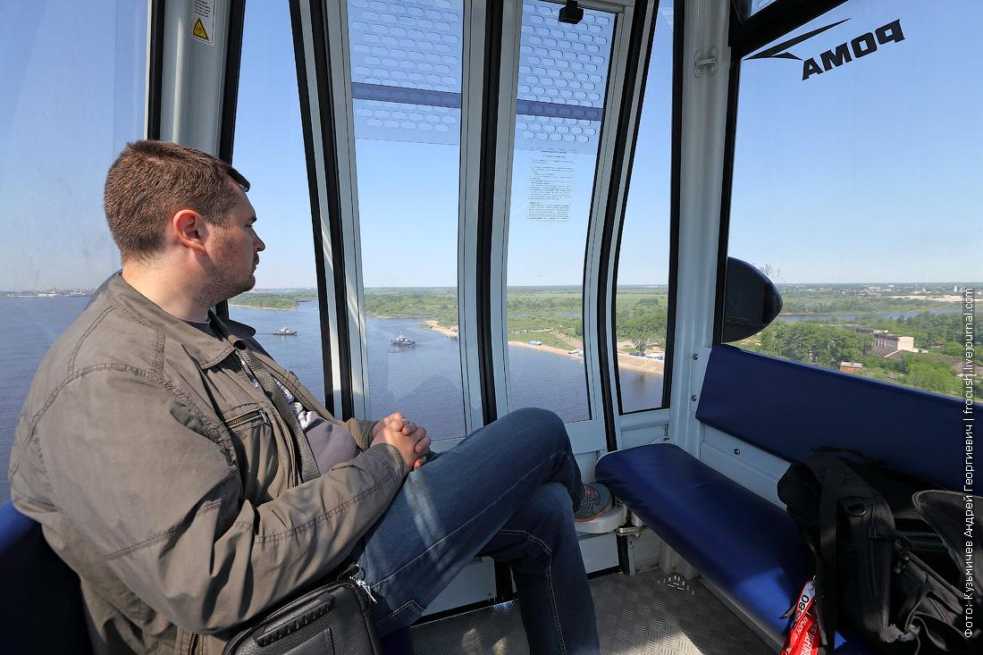 в кабинке канатки в Нижнем Новгороде
