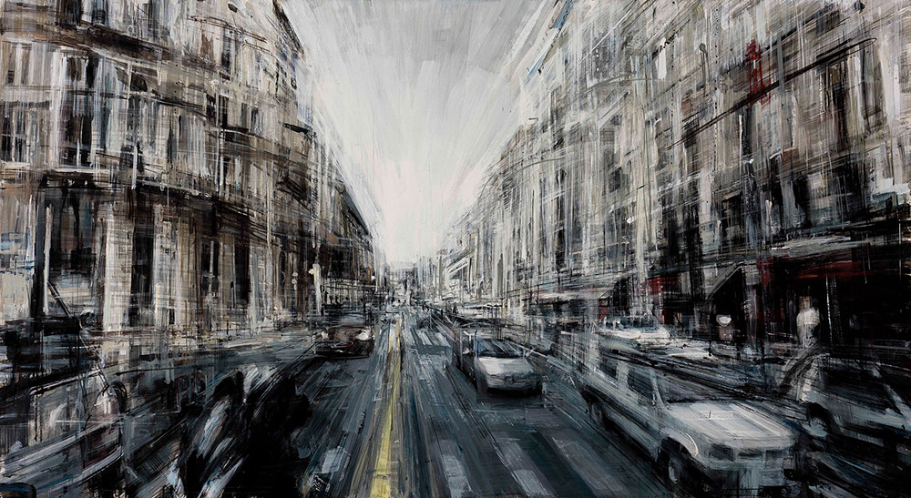 Rush Hour , 2015, oil on panel, 17x31in.