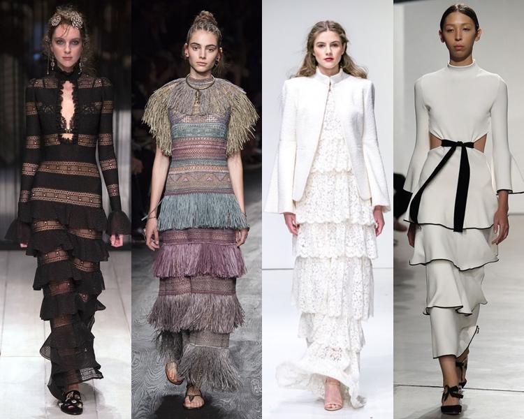 модный фасон платья 2016: многоярусные платья