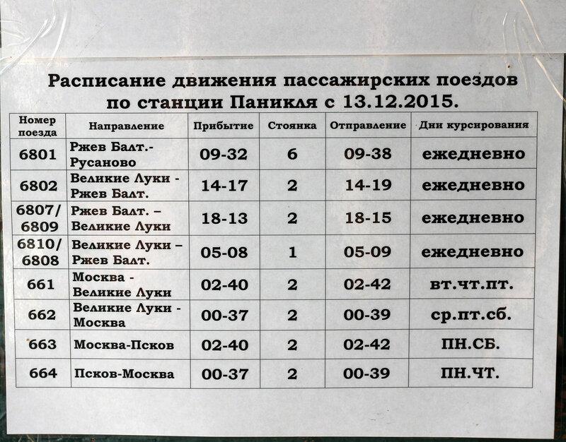 Расписание поездов по станции Паникля