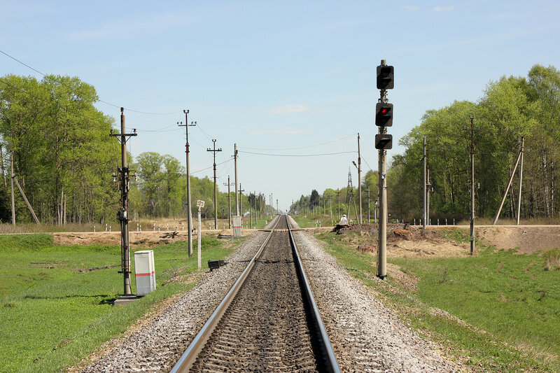 Входной светофор Ч станции Паникля и переезд