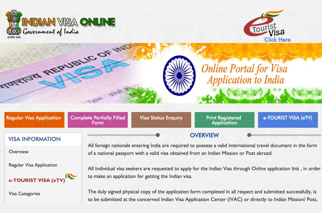 Раздел Regular Visa Application на сайте IndianVisaOnline