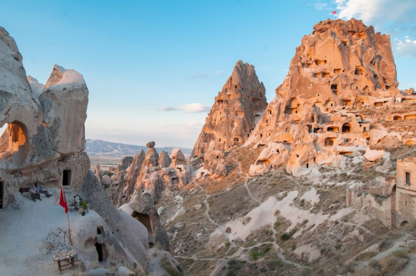 View of Uchisar castle at sunset. Cappadocia, Turkey.