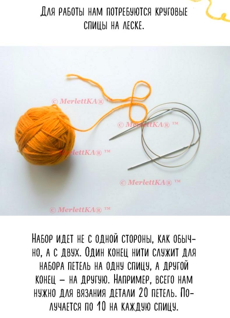 Набор петель методом джуди для кругового вязания