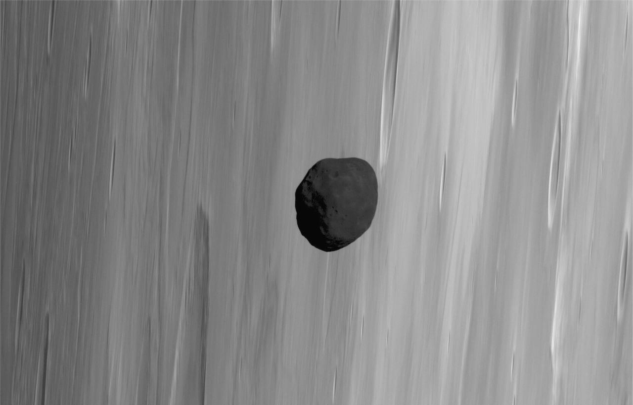 Mars Express сфотографировал Фобос на фоне Сатурна