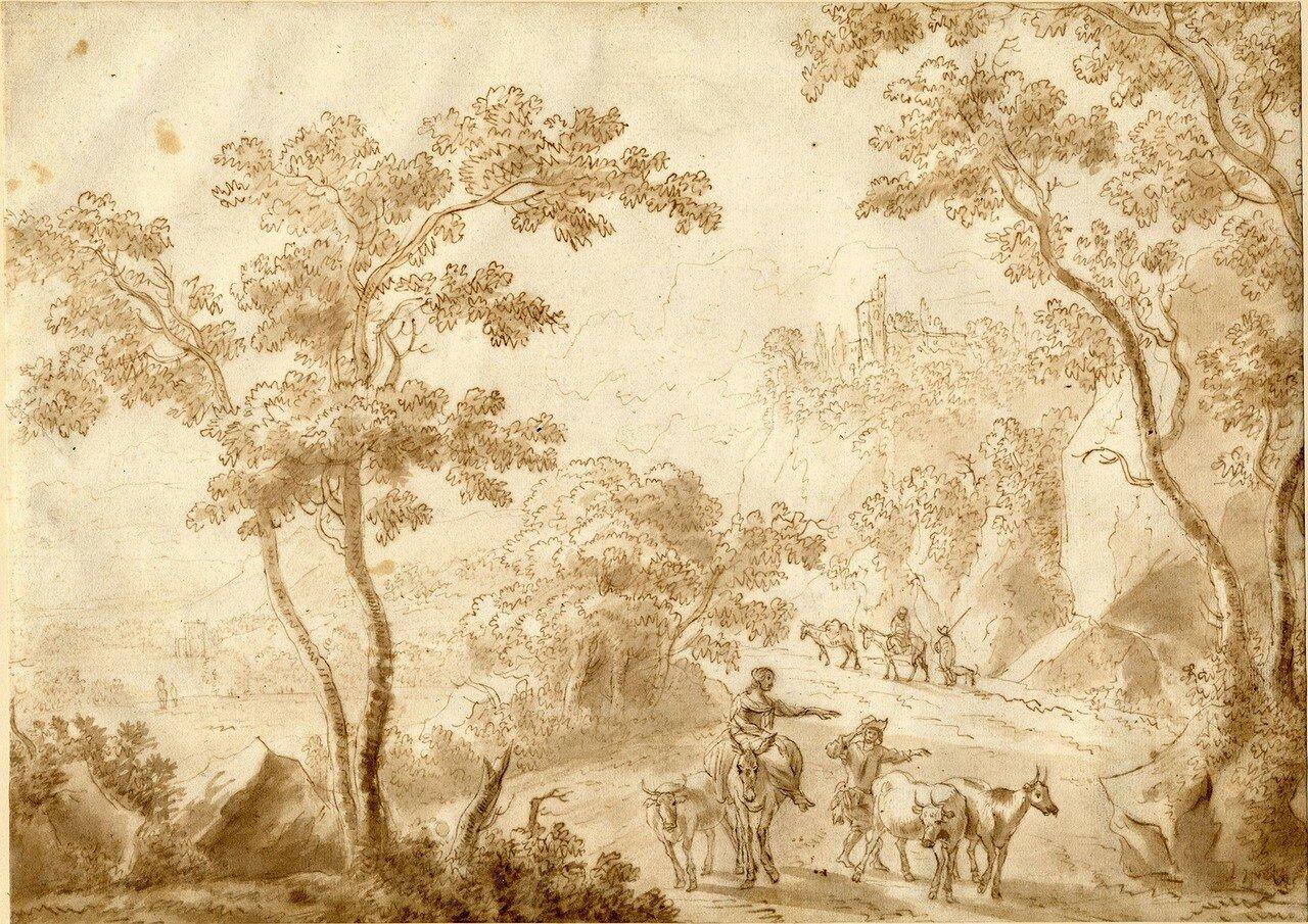 Пейзаж с пастухами и стадом на дороге (1633-1652) (252 х 352 мм) (Лондон, Британский музей) (перо и коричневые чернила, размывка коричневым).jpg