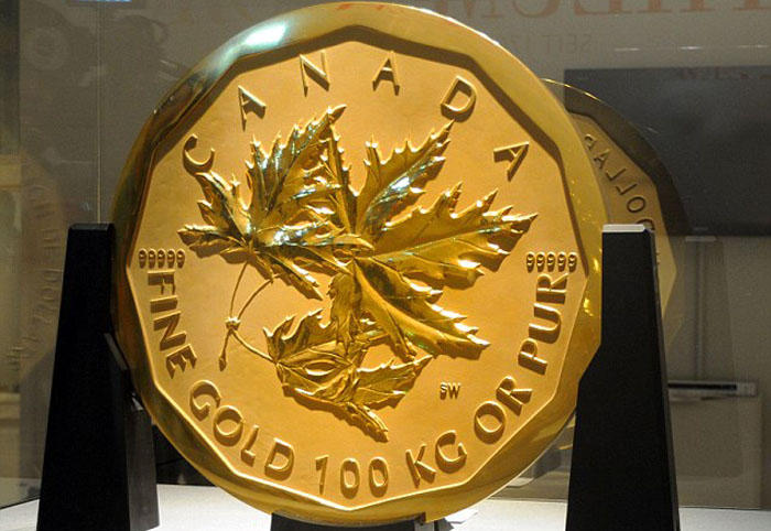 19. Самая большая золотая монета в мире Эту монету, изготовленную в 2007 году из чистого золота, при