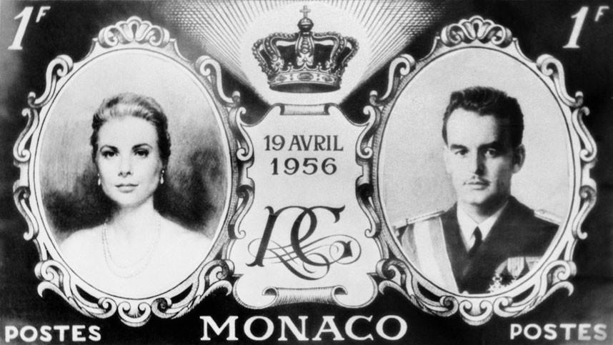 27 февраля 1956 года. Макет марок, которые были выпущены ко дню свадьбы князя Ренье и Грейс Келли. С