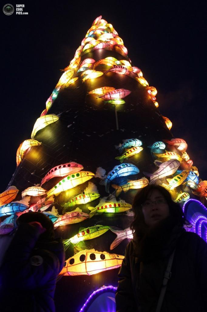 Своеобразная ёлка, украшенная форелью. (Chung Sung-Jun/Getty Images) Читайте также: 29-й Харбин