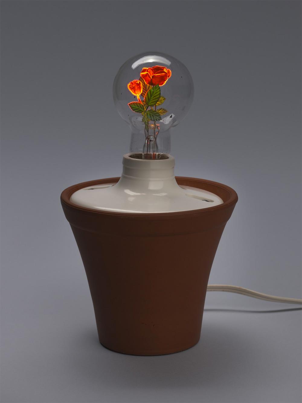 Dan Flavin, Roses . Aerolux Flowerlite light bulb, ceramic flower pot, cord and light switch. 8 1/2