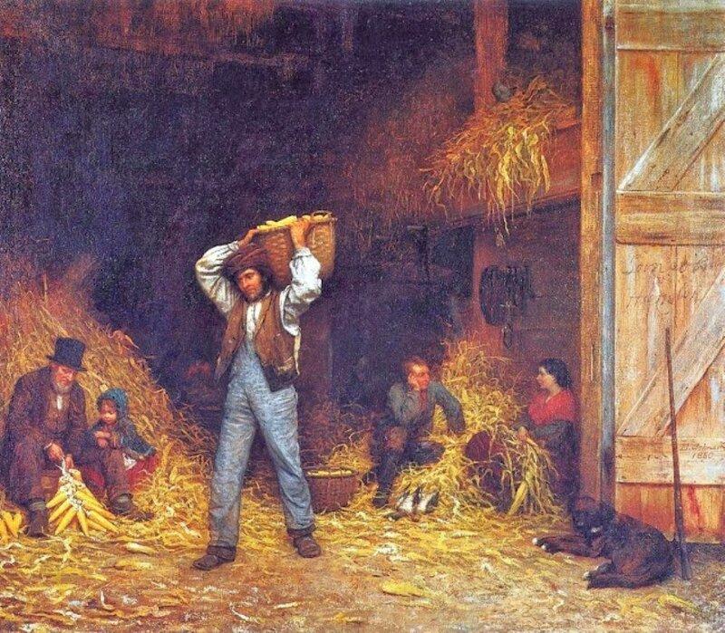 3 f John Eastman (American Painter, fl 1842-1880) Corn Husking 1860.jpg