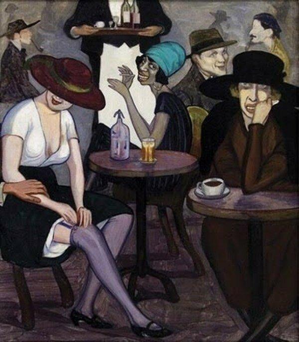 1920 Shalva Kikodze (Georgian Expressionist painter, 1894–1921) Artists' Coffee House in Paris.jpg