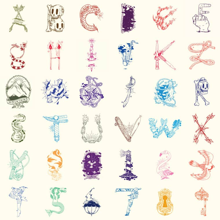 36 Days Of Type - A beautiful alphabet between tattoo and typography