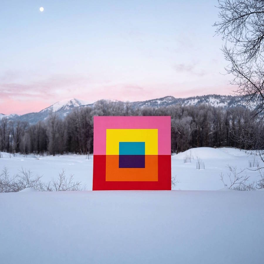 Digital Combinations Between Bold Colour-Blocking and Landscapes
