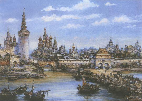 Вид от деревянного (живого) Москворецкого моста на водяные ворота Китай-города и собор Василия Блаженного в конце XVII века.jpg