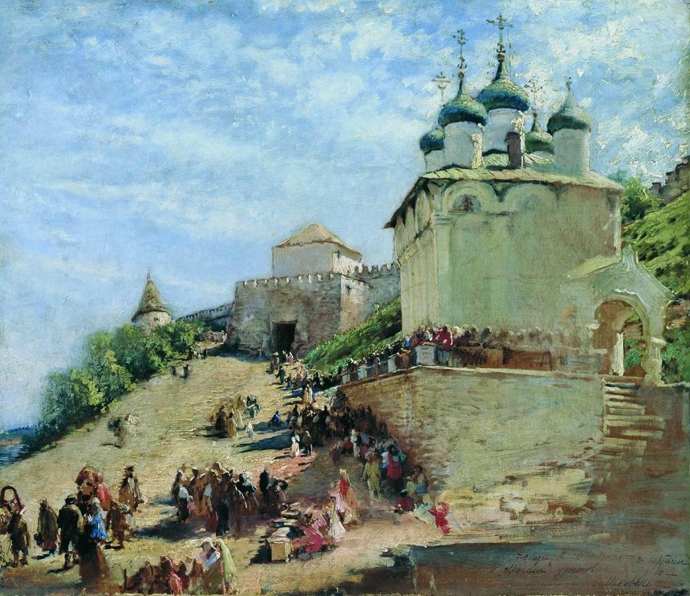 Этюд к картине 1896 года Минин на площади Нижнего Новгорода, призывающий народ к пожертвованиям Архангельский областной музей изобразительных искусств