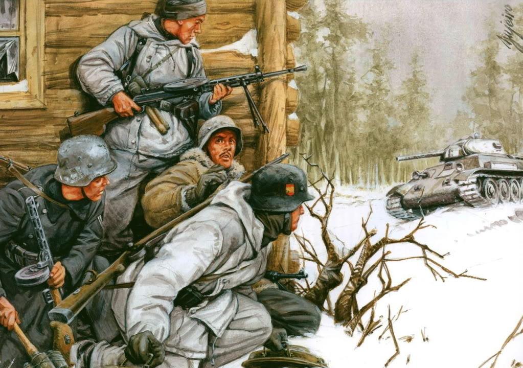 Вот Феррер-Далмау воспевает испанское оружие в своей картине «Голубая дивизия»