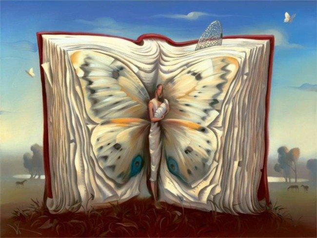 Открытки. День библиотек! Книга-бабочка нашей мечты