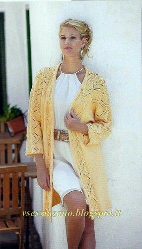Длинный жакет-кимоно с ажурным узором