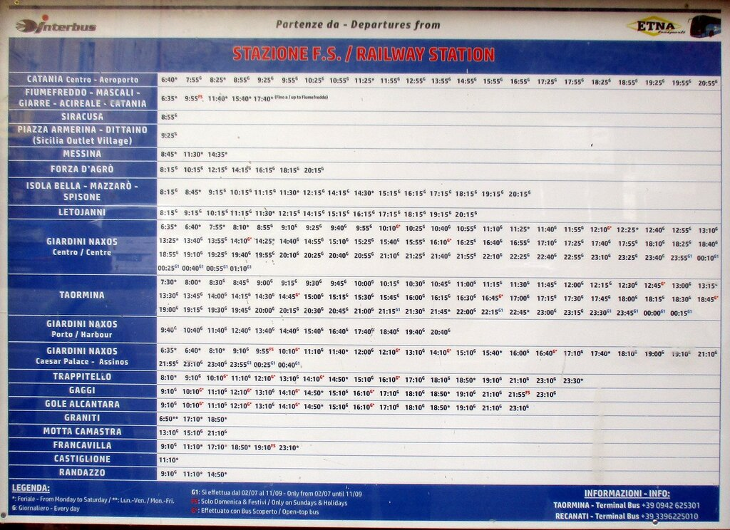 Schedule of intercity buses through the station Taormina-Giardini